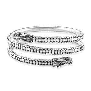 Bali Legacy Dragon Wrap Bangle in Sterling Silver (7.50 in)