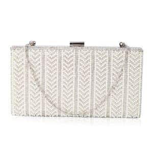 Silver, Austrian Crystal, Simulated Pearl Elegant Evening Barrel Clutch Bag (8.5x1.5x4 in)