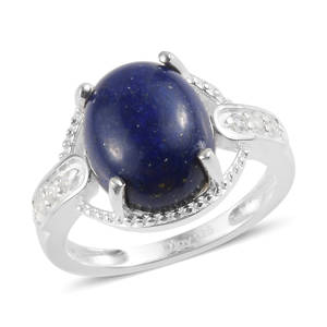Lapis Lazuli, White CZ Ring in Sterling Silver (Size 6.0) 4.33 ctw