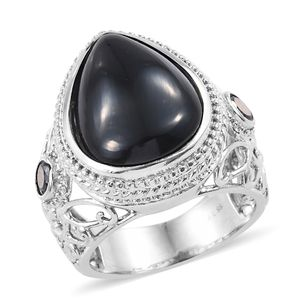 Thai Black Spinel, Black CZ Ring in Stainless Steel (Size 9.0) 15.90 ctw