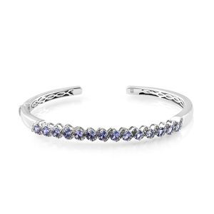 Tanzanite, Cambodian Zircon Platinum Over Sterling Silver Wavy Cuff (7.25 in) 3.16 ctw