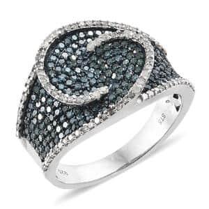 Blue Diamond (IR), Diamond Ring in Blue Rhodium & Platinum Over Sterling Silver (Size 10.0) 1.50 ctw