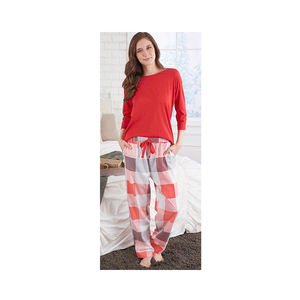 AMANDA PAIGE SLEEPWEAR Solid Red 60% Cotton and 40% Polyester Mid Sleeve Pajama Top with Drawstring Checkered Cotton Pants (S)
