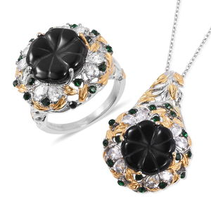 Floral Carved Enhanced Black Agate, Multi Gemstone Ring (Size 11) and Pendant Necklace (20 in) in ION Plated YG & Stainless Steel 34.00 ctw