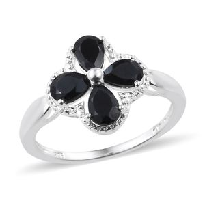 Thai Black Spinel Sterling Silver Floral Ring (Size 8.0) TGW 2.50 cts.