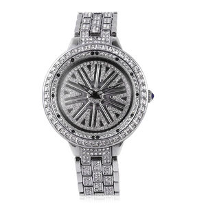 GENOA White and Black Austrian Crystal Miyota Japanese Movement Watch in Silvertone with Stainless Steel Back