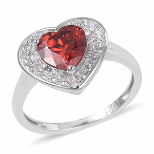 Red and White CZ Heart Ring in Sterling Silver 3.70 cttw (Size 7.0)
