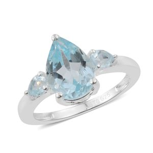 Sky Blue Topaz Sterling Silver Ring (Size 9.0) TGW 2.38 cts.