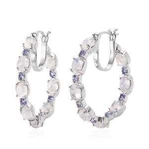 2ac158c405b3e Rainbow Moonstone, Tanzanite Platinum Over Sterling Silver Inside Out Hoop  Earrings 10.50 ctw