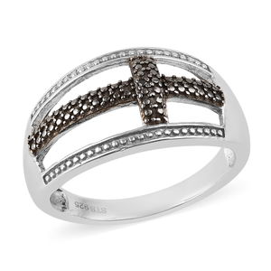 Black Diamond (IR) Accent Black Rhodium & Platinum Over Sterling Silver Ring (Size 5.0)