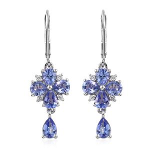 Tanzanite, Cambodian Zircon Platinum Over Sterling Silver Lever Back Drop Earrings TGW 3.31 cts.