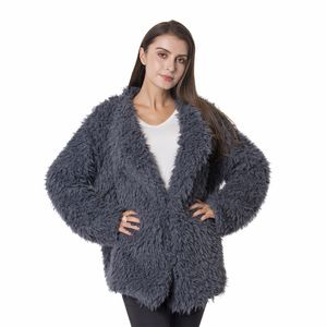 Grey Chic Style 100% Polyester Faux Fur Short Coat with Long Sleeves (S/M)