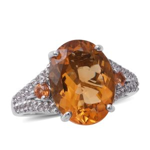 Brazilian Citrine, Multi Gemstone Platinum Over Sterling Silver Ring (Size 7.0) TGW 9.55 cts.