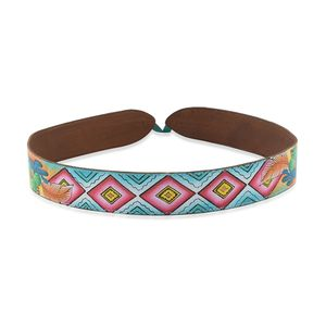 SUKRITI Hand Painted Multi Color Cactus and Feather Genuine Leather Belt - 2XL