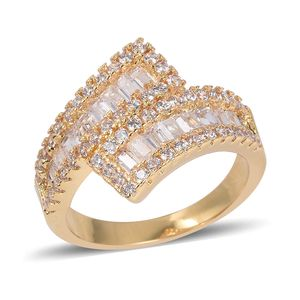 White CZ Ring in Goldtone (Size 5.0) 2.07 ctw