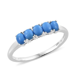 Ceruleite 5 Stone Ring in Sterling Silver (Size 6.0) 0.70 ctw