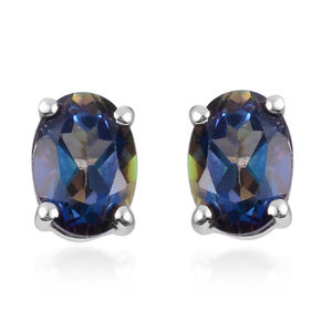 Blue Topaz Stud Earrings in Sterling Silver 1.75 ctw