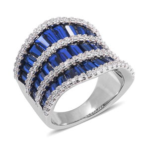Blue and White CZ Ring in Silvertone (Size 10.0) 6.40 ctw