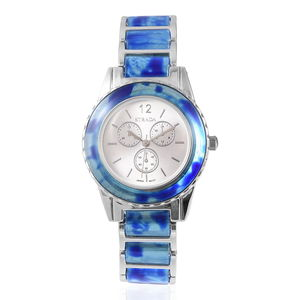 STRADA Blue Chroma Japanese Movement Silvertone Bracelet Watch (7.5 in) with Stainless Steel Back