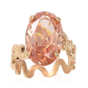 Champagne CZ Ring in ION Plated YG Stainless Steel (Size 8.0) 3.00 ctw