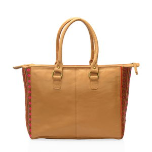 Santa Fe Collection Camel Genuine Leather Tote Bag with Aztec Printed Fabric Sides (14.5x6x12.25 in)