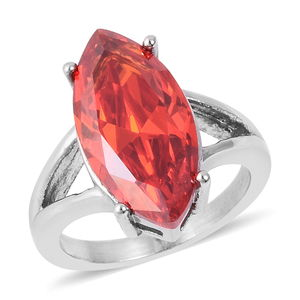 Orange CZ Ring in Stainless Steel (Size 6.0) 7.00 ctw