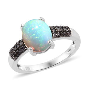 Ethiopian Welo Opal, Natural Champagne Diamond (0.30 ct) Ring in Platinum Over Sterling Silver (Size 5.0) 2.15 ctw