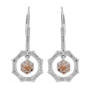 Golden Imperial Topaz, Cambodian Zircon Inner Drop Earrings in Platinum Over Sterling Silver 1.71 ctw