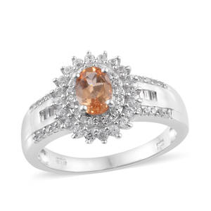 Golden Imperial Topaz, Cambodian Zircon Ring in Platinum Over Sterling Silver (Size 5.0) 1.96 ctw