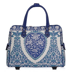 Blue, White Damask Pattern Vegan Leather Rolling Tote Carry-on Luggage (21x7x15 in)
