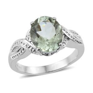 Green Amethyst Ring in Stainless Steel (Size 6.0) 4.20 ctw