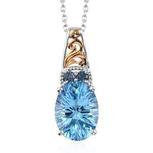 Premium Swiss Blue Topaz, London Blue Topaz Pendant Necklace (20 in) in Vermeil YG & Platinum Over Sterling Silver 8.75 ctw