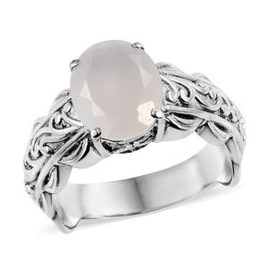 Sri Lankan Silver Moonstone Ring in Stainless Steel (Size 9.0) 4.25 ctw