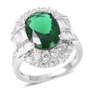 Green Glass, White CZ Ring in Silvertone (Size 9.0) 3.32 ctw