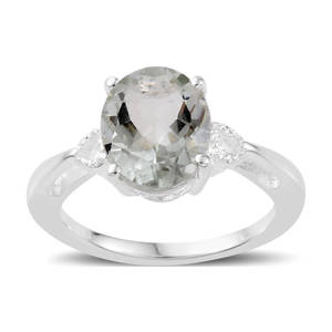 Green Amethyst Solitaire Ring in Sterling Silver (Size 5.0) 2.35 ctw