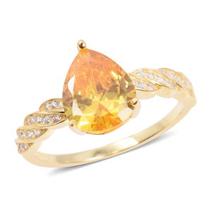Yellow CZ, White CZ Ring in 14K YG Over Sterling Silver (Size 5.0) 2.70 ctw