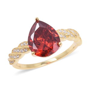 Red CZ, White CZ Ring in 14K YG Over Sterling Silver (Size 10.0) 2.70 ctw