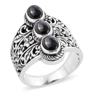 Bali Legacy Silver Shungite Ring in Sterling Silver (Size 9.0) 1.48 ctw
