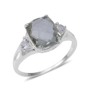 Green Amethyst, White Topaz Sterling Silver Ring (Size 9.0) 3.95 ctw