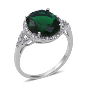 Green CZ, CZ Ring in Sterling Silver (Size 11.0) 7.78 ctw