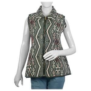 Green Geometric Woven Pattern Jacket - XXL (27.5x50, 100% Polyester/Cotton)