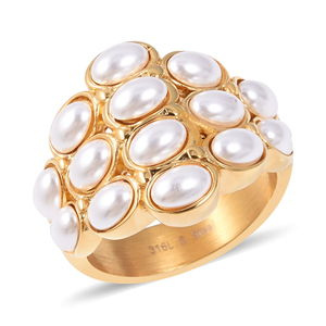 Simulated Pearl Ring in ION Plated YG Stainless Steel (Size 6.0)