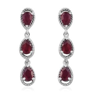 d2fd21301 African Ruby Dangle Earrings in Platinum Over Sterling Silver 3.65 ctw