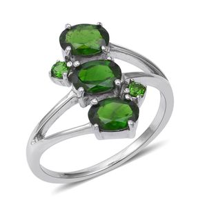 Russian Diopside Ring in Platinum Over Sterling Silver (Size 6.0) 2.56 ctw