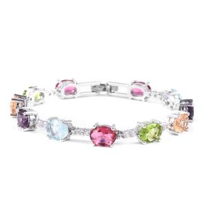 Multi Color CZ, White CZ Bracelet in Silvertone (8.00 In) 23.61 ctw