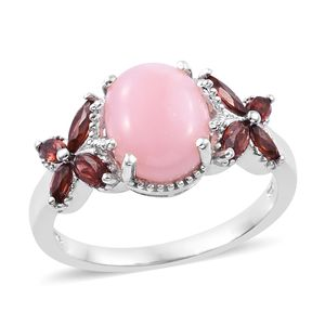 Peruvian Pink Opal, Mozambique Garnet Butterfly Ring in Platinum Over Sterling Silver (Size 8.0) 3.85 ctw