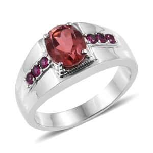 Salmon Quartz, Ruby CZ Men's Ring in Stainless Steel (Size 12.0) 3.40 ctw