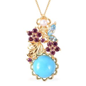 Arizona Sleeping Beauty Turquoise, Multi Gemstone Pendant Necklace (18 in) in Vermeil YG Over Sterling Silver 4.47 ctw