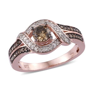 Natural Champagne and White Diamond Ring in Rhodium & Vermeil YG Over Sterling Silver (Size 9.0) 1.00 ctw