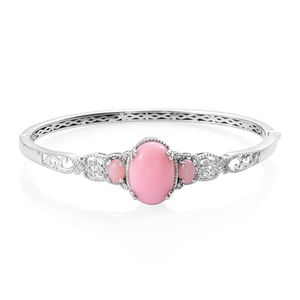 Peruvian Pink Opal, Cambodian Zircon Bangle Bracelet in Platinum Over Sterling Silver (8 in) 10.16 ctw